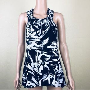 Perseption Concepts Black White Sleeveless Blouse